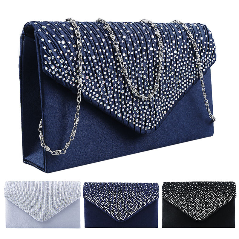 Ladies Elegant Satin Diamante Bridal Evening Clutch Bag Prom Party Handbag Purse | EBay