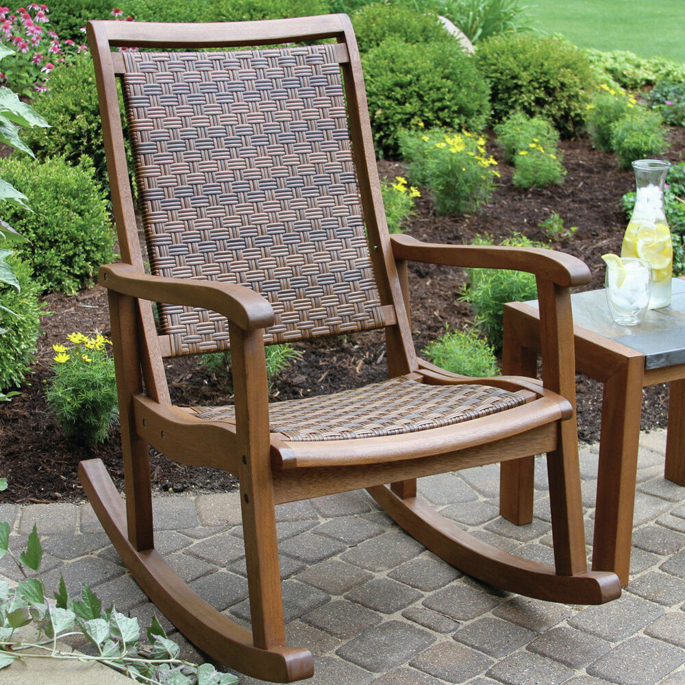 outdoor wicker wood rocking chair patio porch seat rocker deck furniture brown ebay. Black Bedroom Furniture Sets. Home Design Ideas