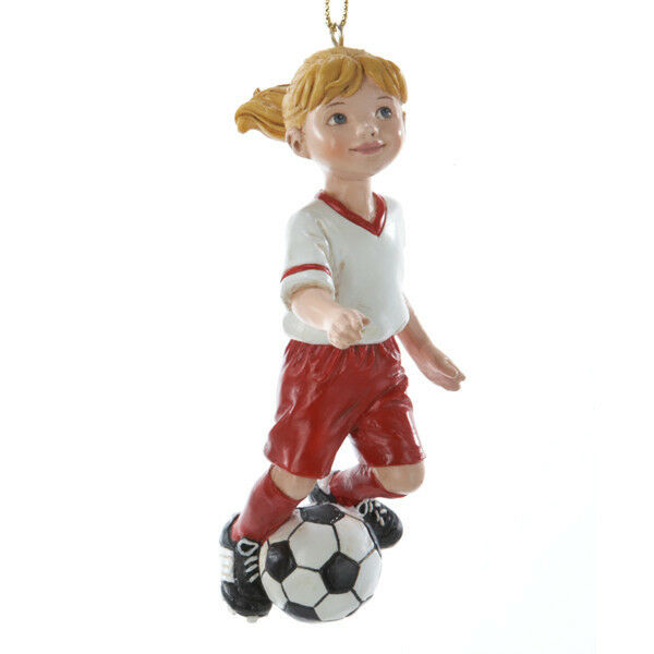 Kurt s adler girl soccer player christmas tree ornament