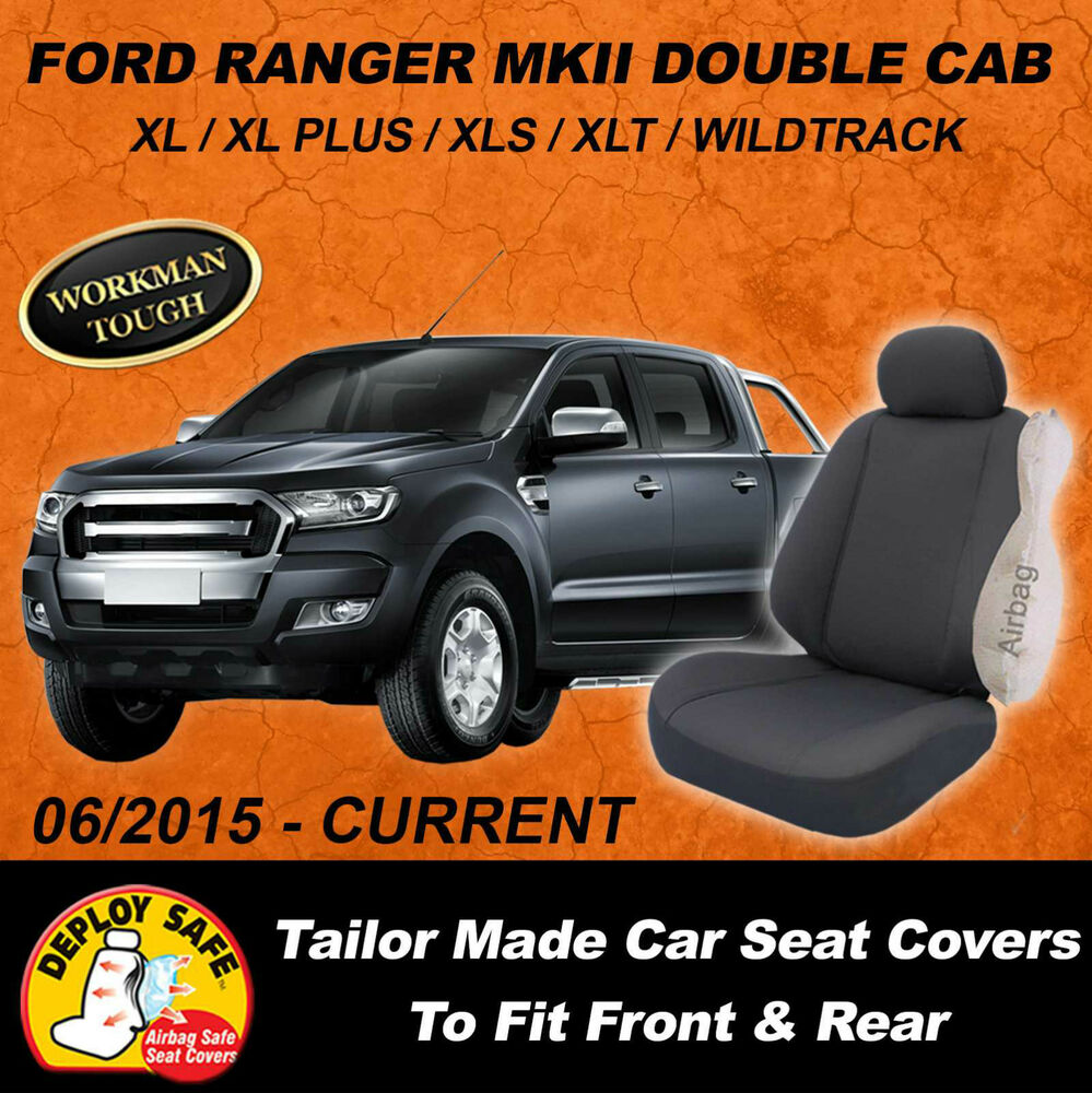 Canvas Car Seat Covers Ford Ranger MKII Double Cab Front
