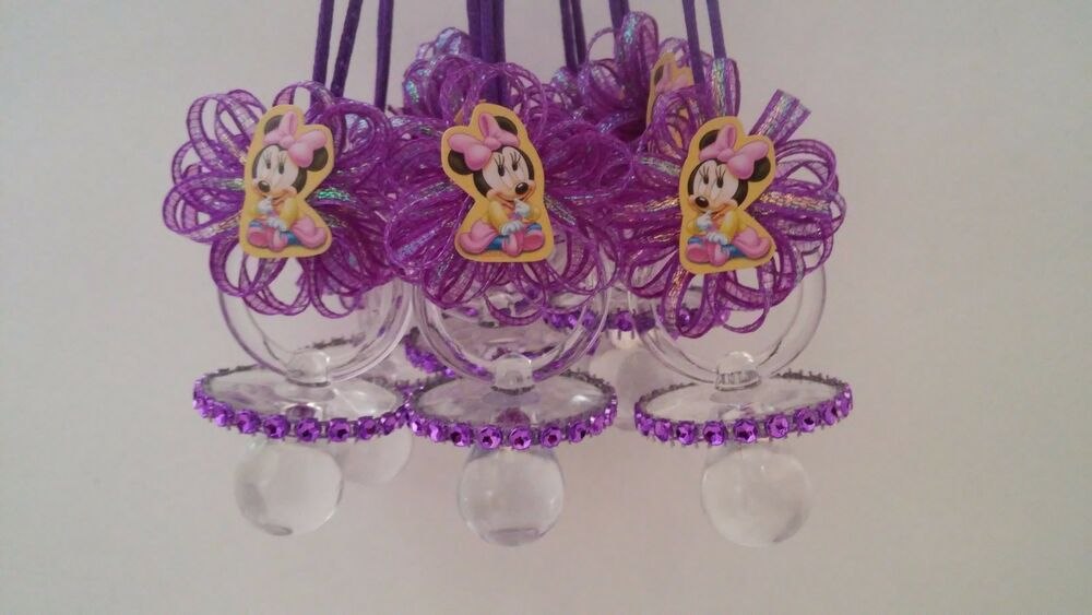 12 minnie mouse pacifier necklaces baby shower favors prizes girl