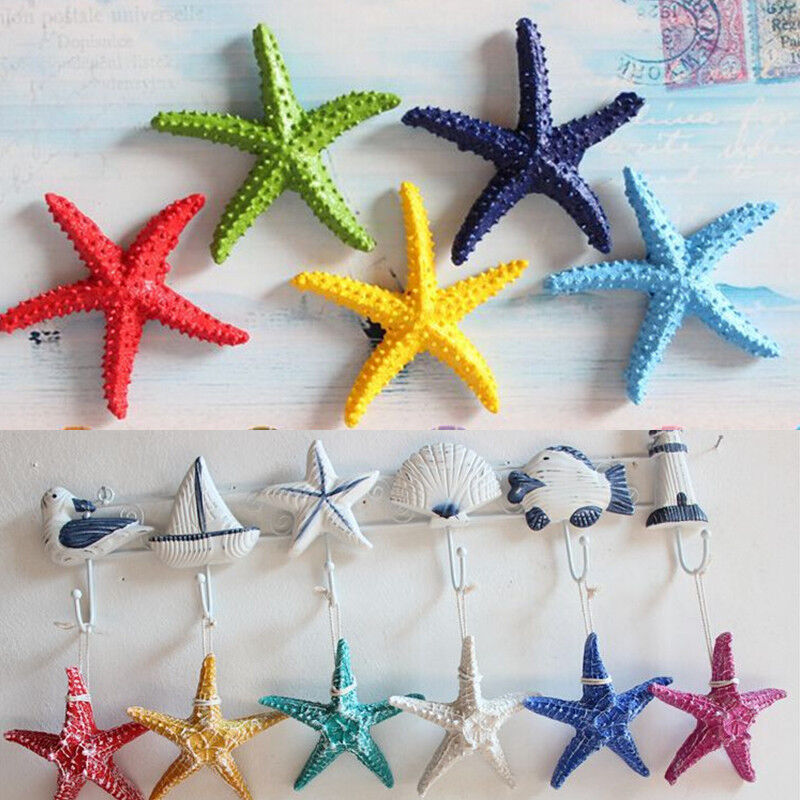 Details About Resin Hanging Starfish Tropical Ornament Beach Ocean Sea Shell Home Wall Decor