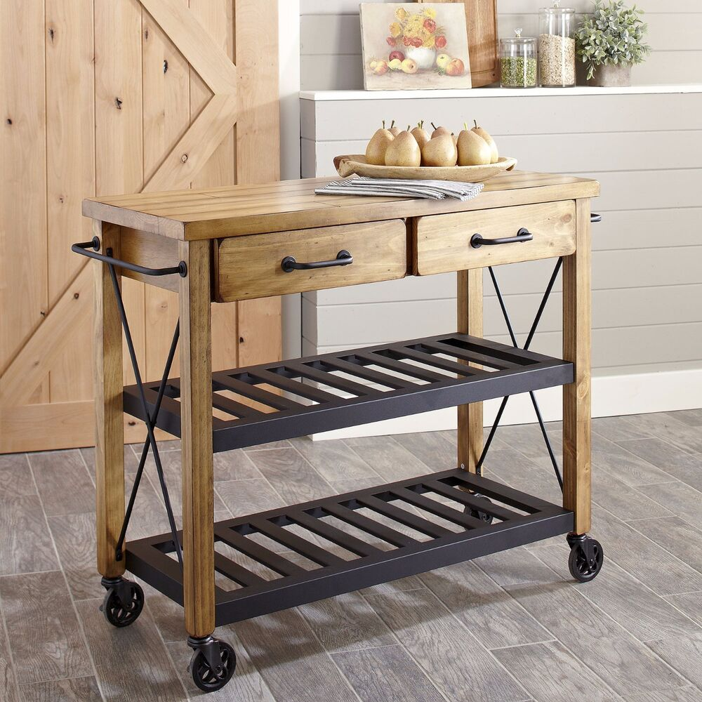 Modern Rustic Industrial Country Portable Kitchen Cart Island Utility Prep Table Ebay
