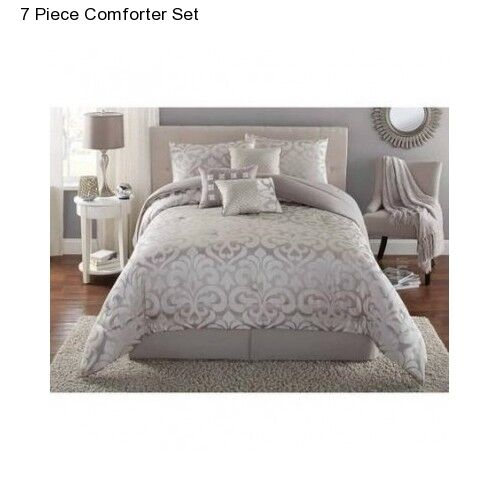 new grey full queen size comforter set modern bedding bedspread with bedskirt ebay. Black Bedroom Furniture Sets. Home Design Ideas
