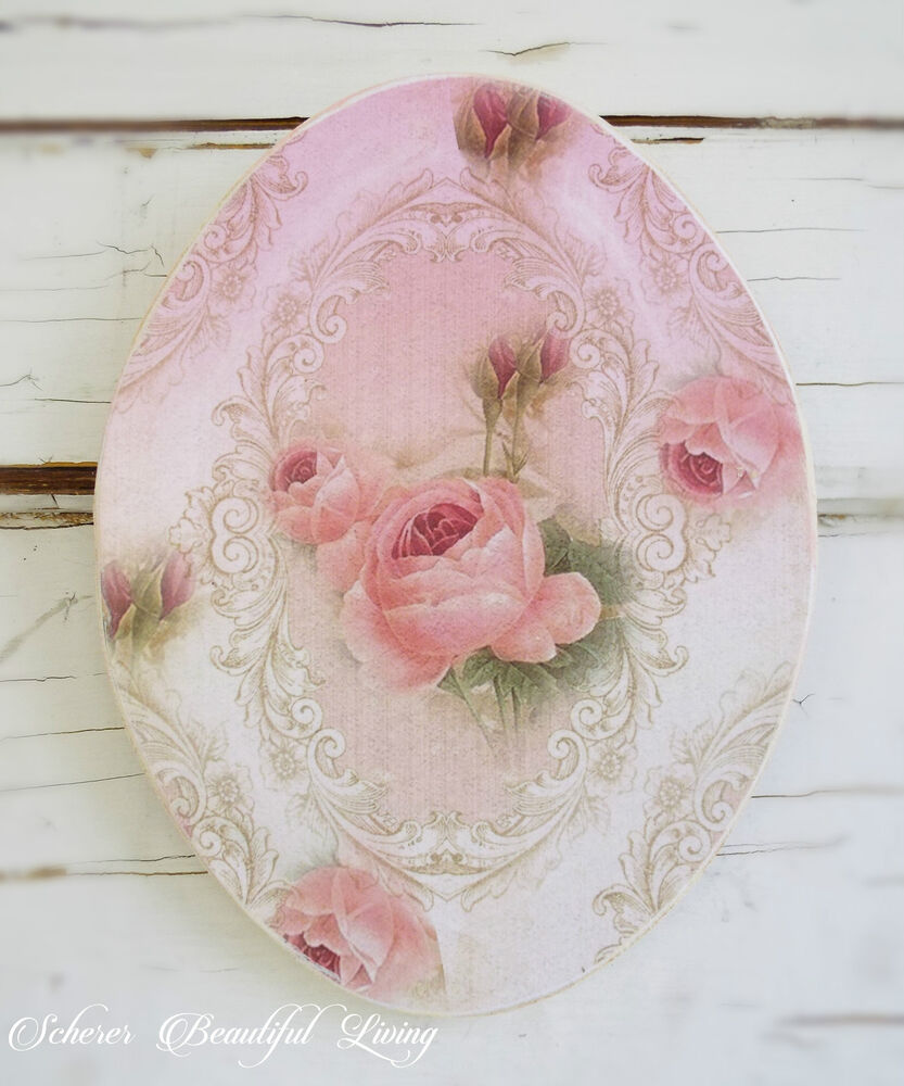 shabby rose chic plaque sign floral home decor wall hanging pink cream victorian ebay. Black Bedroom Furniture Sets. Home Design Ideas