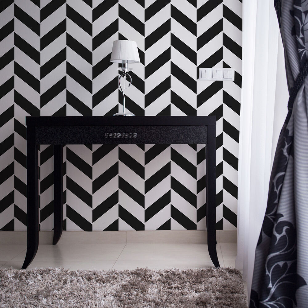 Herringbone chevron pattern wall stencil bliss for for Chevron template for walls