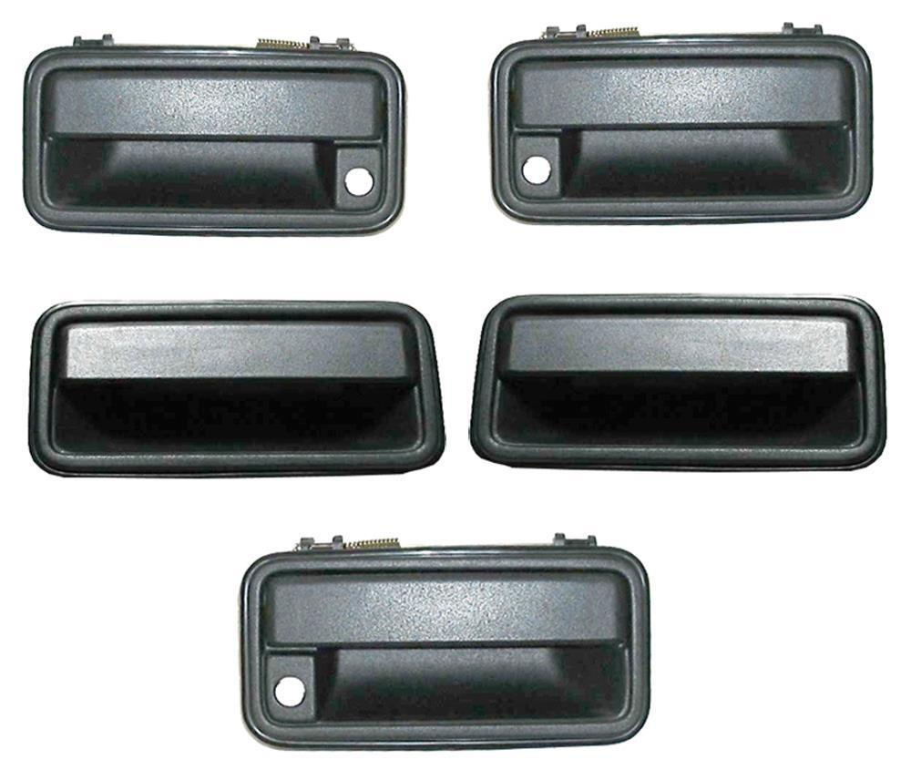 Tahoe suburban yukon metal outside door handles 1995 1999 set 5 with cargo door ebay for 1999 suburban interior door handle