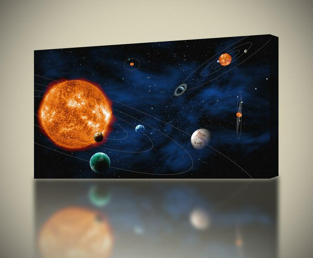 Solar system planets space canvas print wall art decor for Decor systems