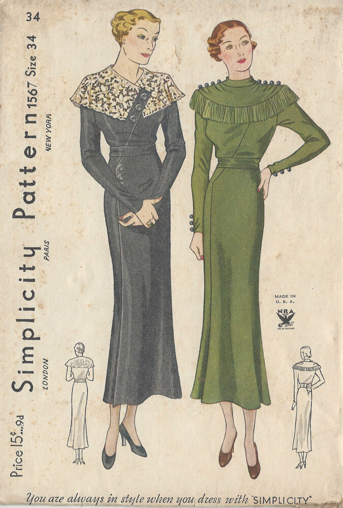 "1930s Vintage Sewing Pattern DRESS B34"" (R589) 