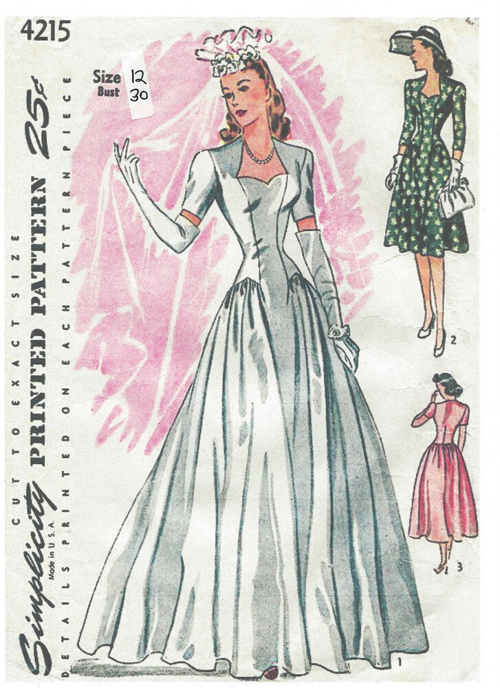 1940s vintage sewing pattern b30 dress wedding dress for 1940s wedding dress patterns