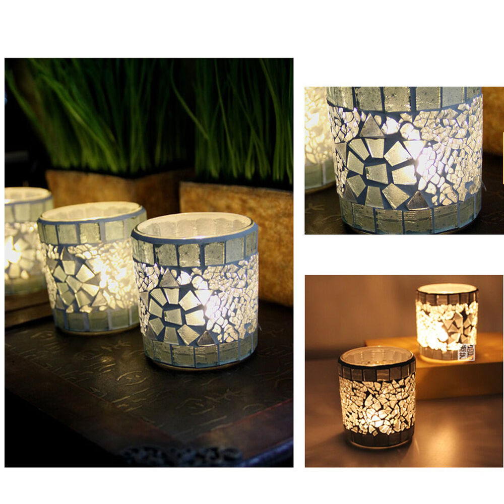 Mosaic glass candle holder snazzy tealight candlestick home party wedding decor ebay - Candle home decor photos ...