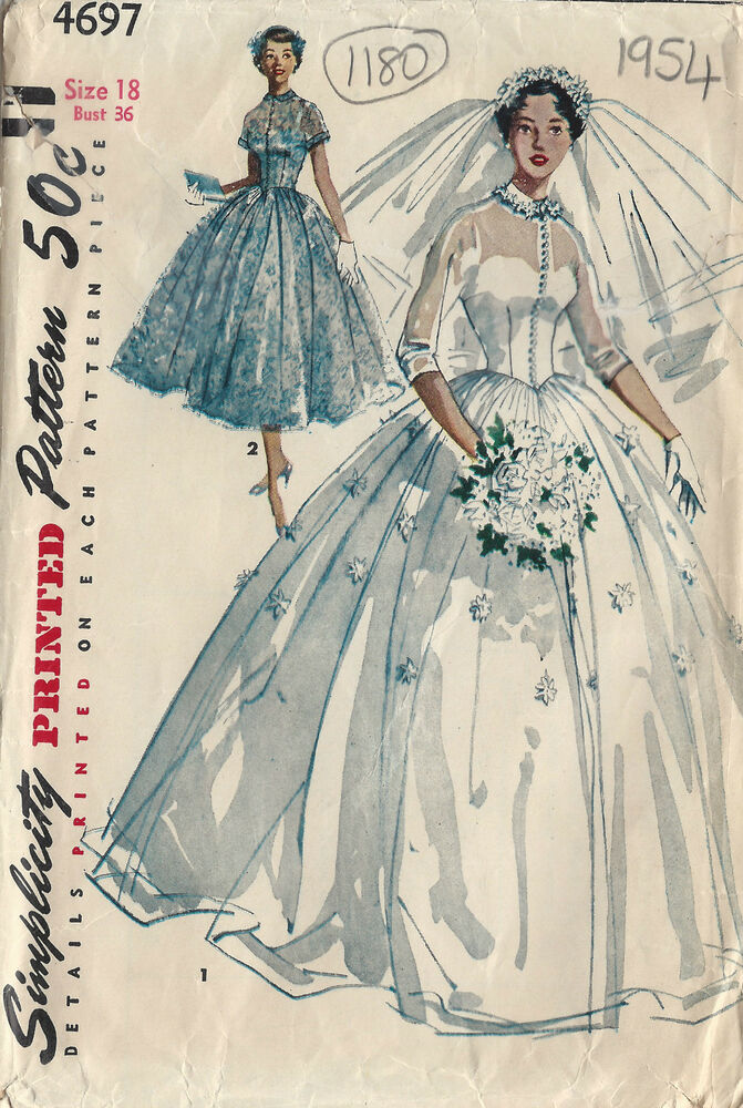 1954 vintage sewing pattern b36 bridal gown bridesmaid for Wedding dress patterns vintage