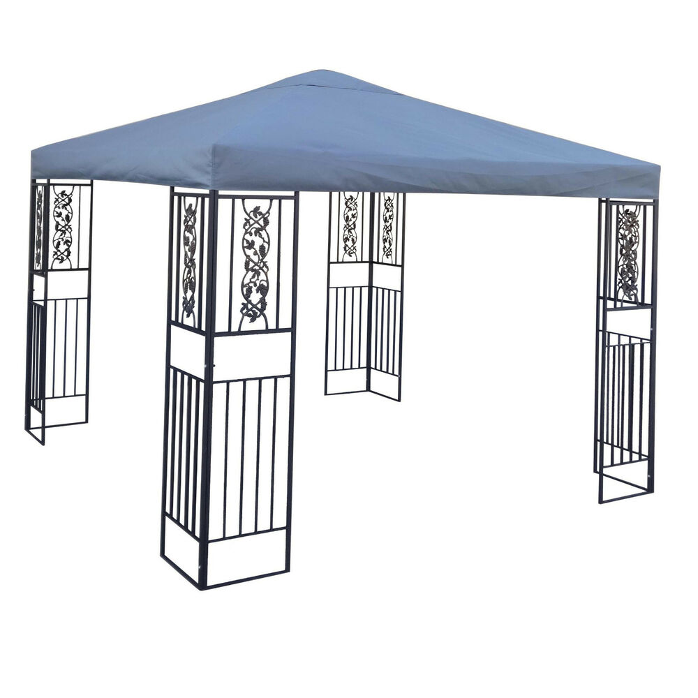 Outdoor Patio Furniture Steel Canopy Gazebo w Grey Cover