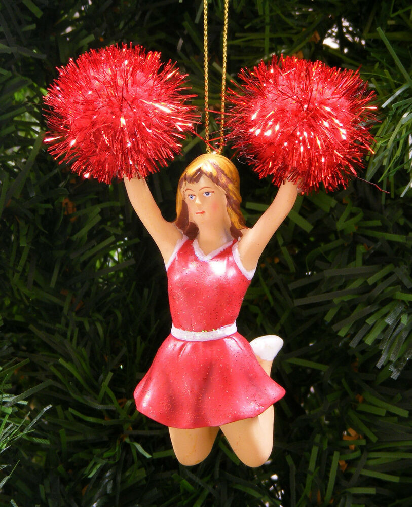 red white cheerleader w red tinsel pom poms christmas ornament ebay. Black Bedroom Furniture Sets. Home Design Ideas
