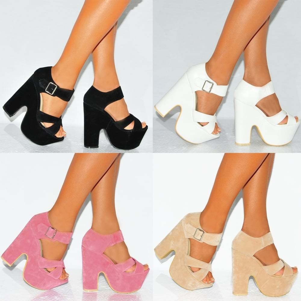 Strappy sandals peep toe wedges block platforms high heels shoes sizes 3 8 ebay - Con 2 tacones ...