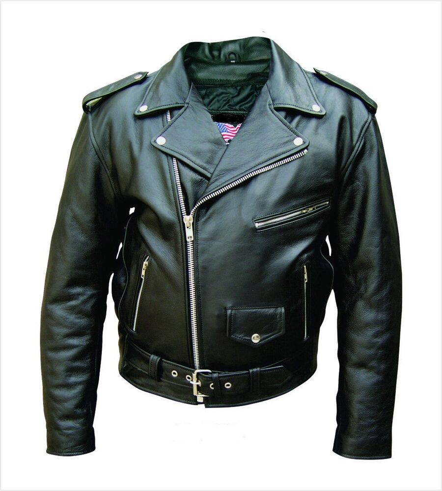 Men's Black Genuine Cowhide Solid Leather Motorcycle Biker ...