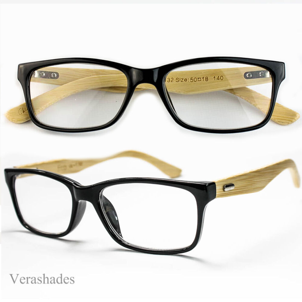 Mens Thin Frame Glasses : Men Women Medium Glasses READING Wooden Clear Lens Thin ...