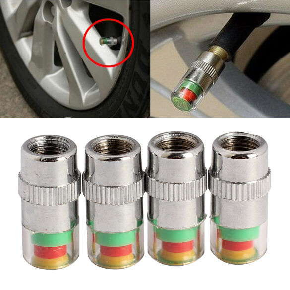 4pcs car auto tire air pressure valve stem caps sensor indicator alert bike ebay. Black Bedroom Furniture Sets. Home Design Ideas