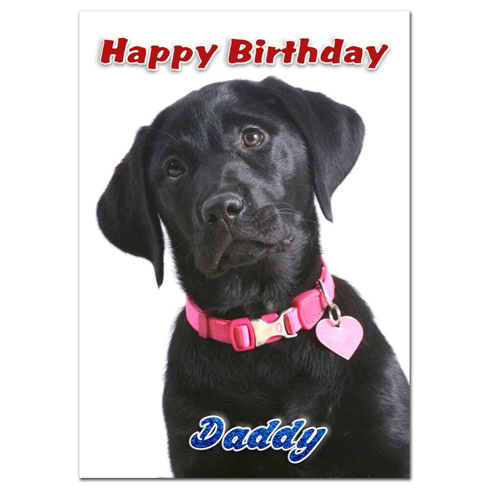098; Personalised Birthday card; little Black labrador ...