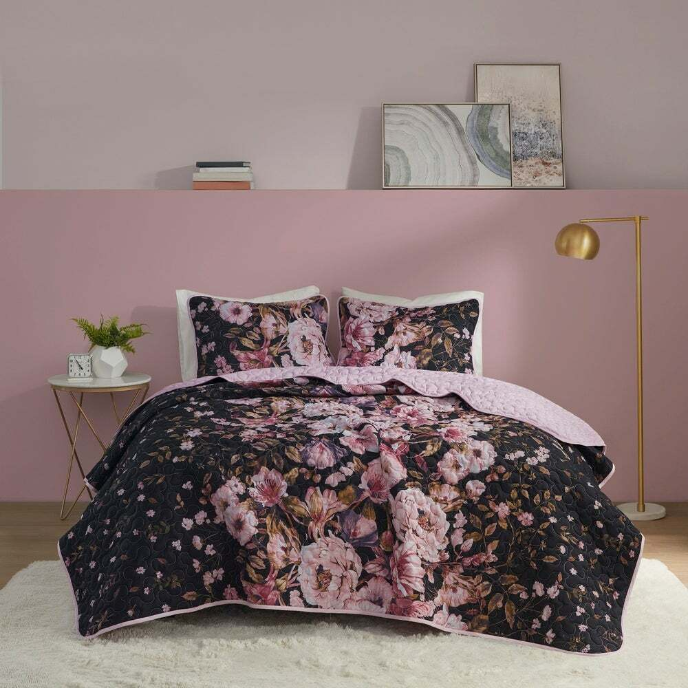 Beautiful Modern Tropical Blue Aqua Black Grey Leaf Bed In