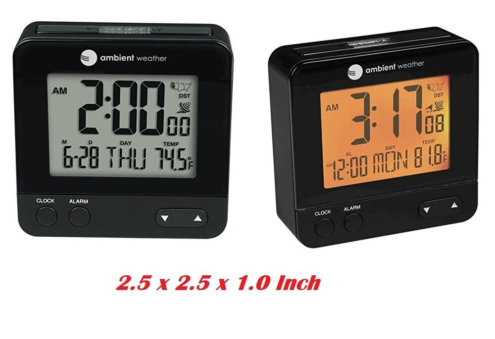 digital alarm clock snooze date temperature night light calendar radio travel ebay. Black Bedroom Furniture Sets. Home Design Ideas