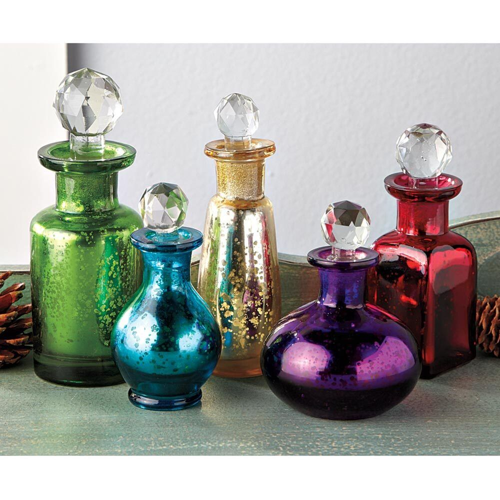 Bohemia decorative mercury glass bottle set of 5 antique for Decorative vials