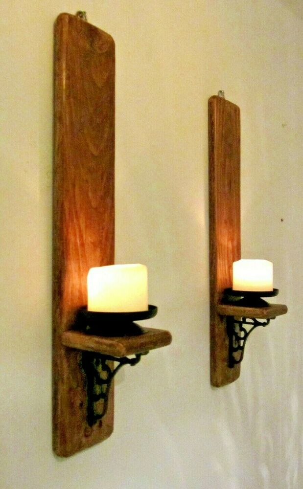 PAIR OF 55CM RUSTIC RECLAIMED WOOD & CAST IRON WALL SCONCE ... on Wood And Metal Wall Sconces id=50621