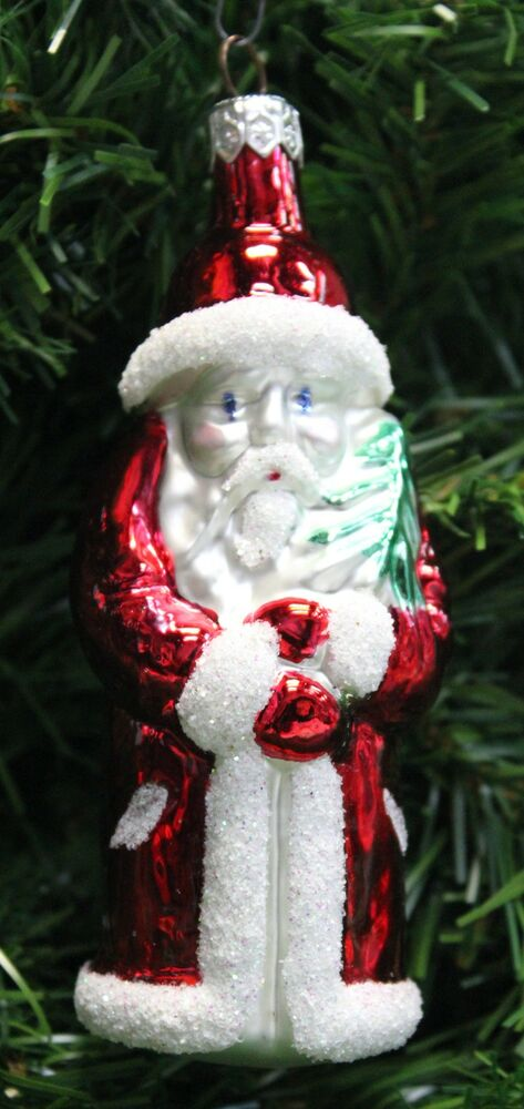 vintage hand blown  u0026 painted polish mercury glass santa