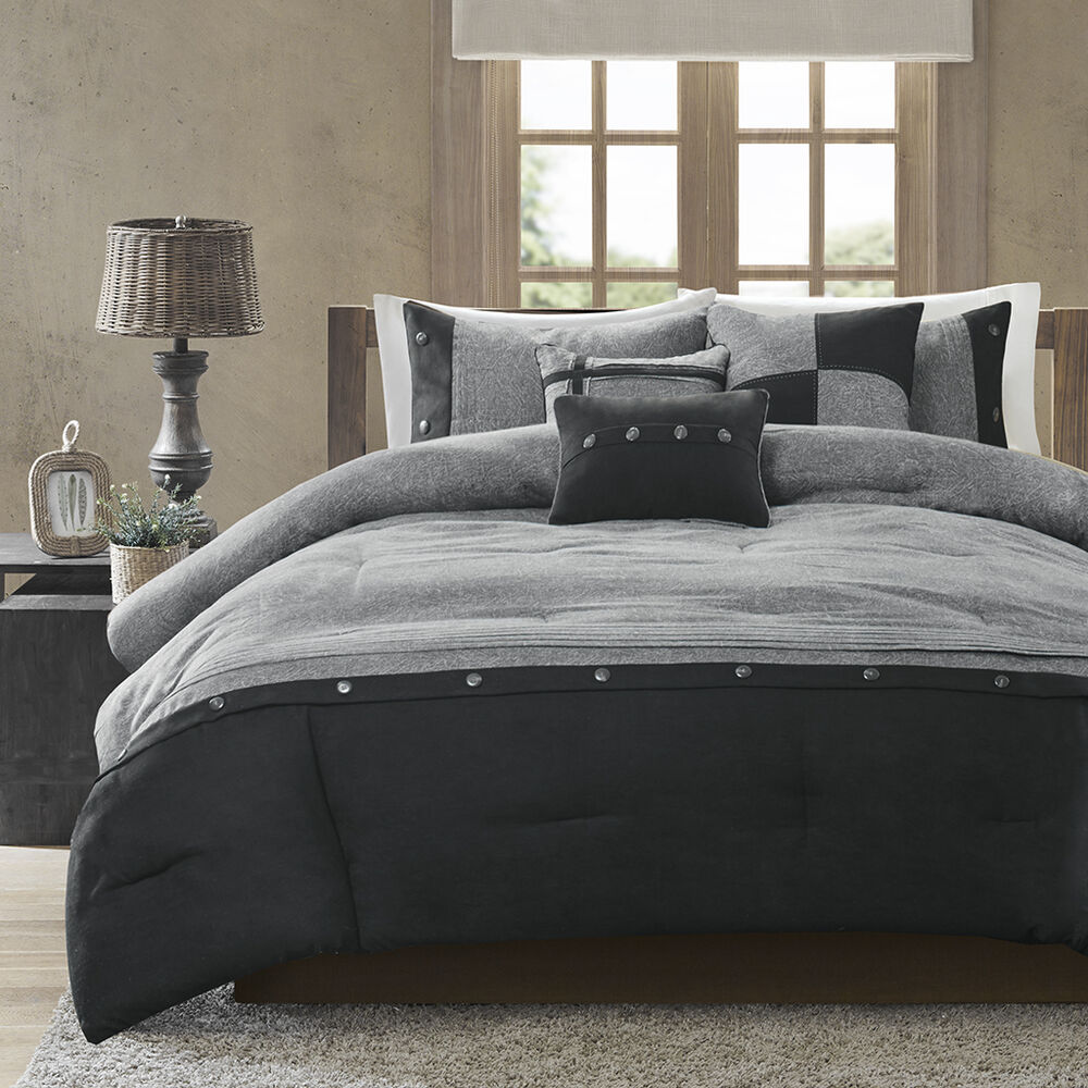 gray bed sets beautiful modern casual grey black cozy button cabin 11714