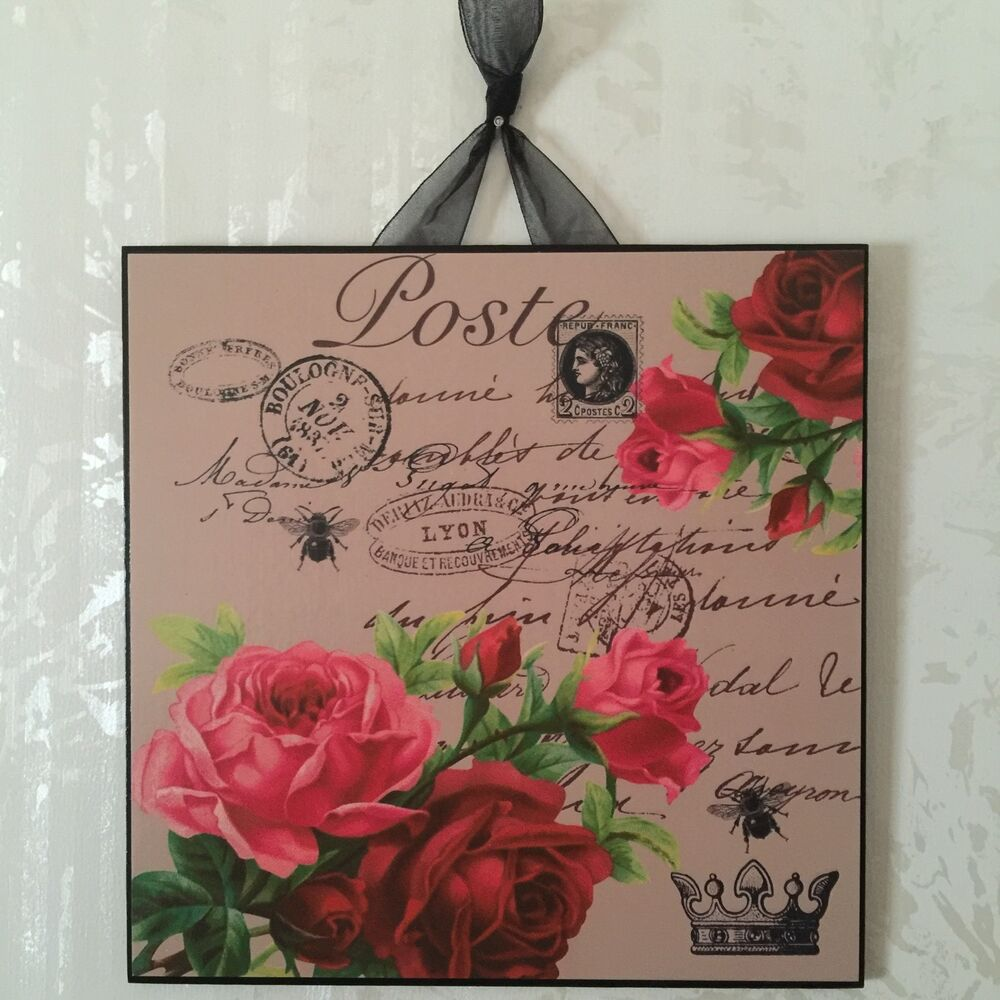 Vintage paris shabby roses wall decor sign plaque french for Shabby chic wall art
