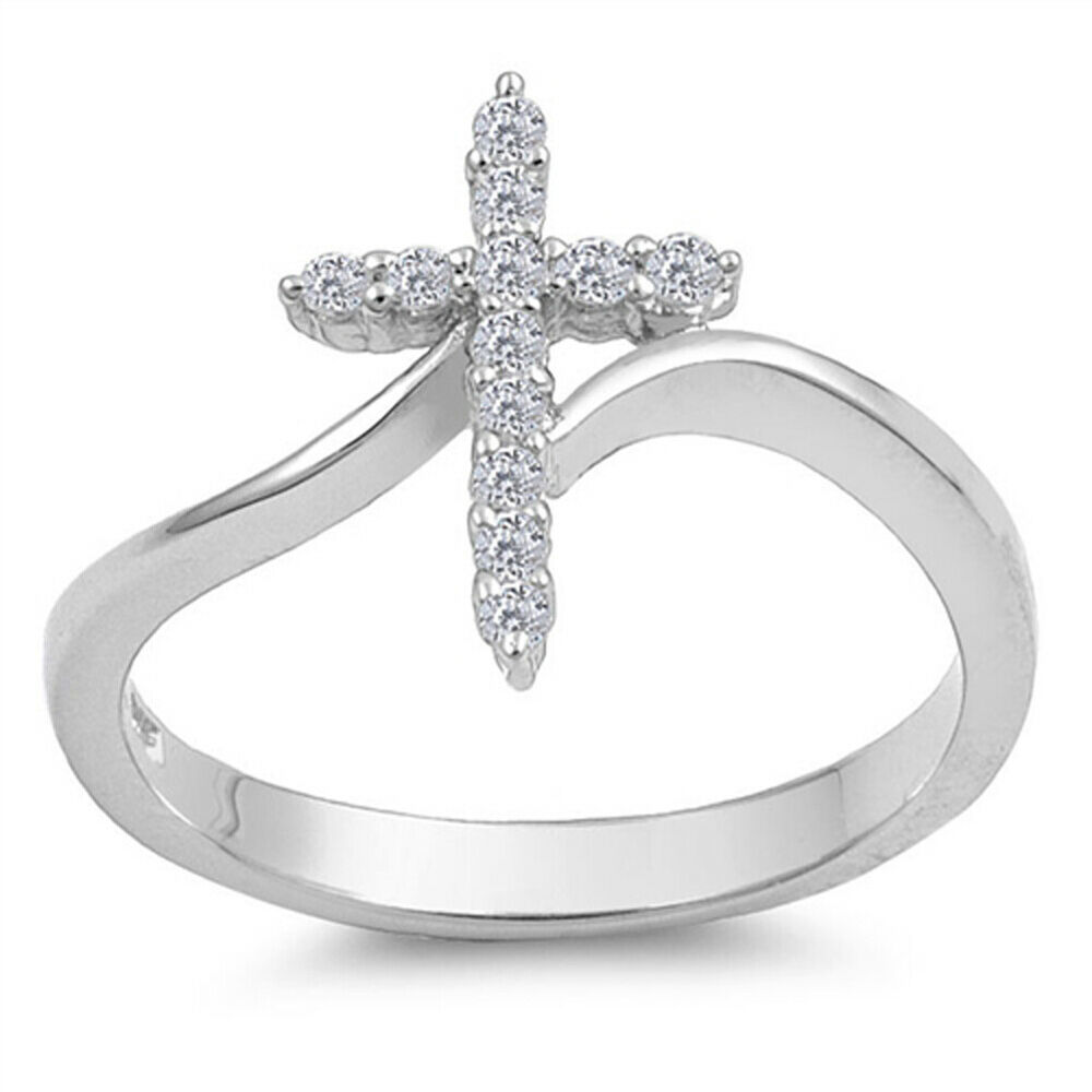 Sterling silver woman 39 s clear cz cross ring unique 925 for How do i clean sterling silver jewelry
