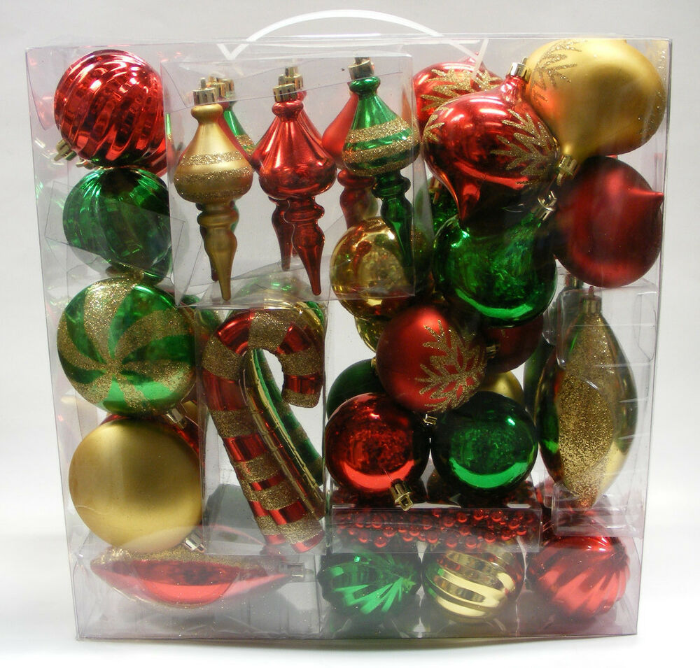 Religious Christmas Ornament Assortment: LOT OF 52 ASSORTED DELUXE SHATTERPROOF CHRISTMAS TREE