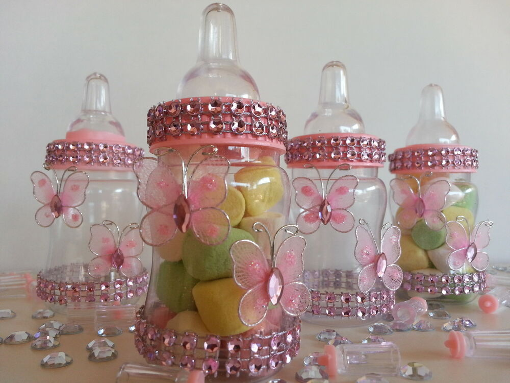 12 fillable butterfly bottles favors prizes or games baby for Baby shower decoration twins