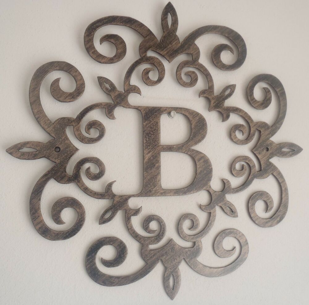 Monogram family initial 30 metal art antique look any for Letter wall art