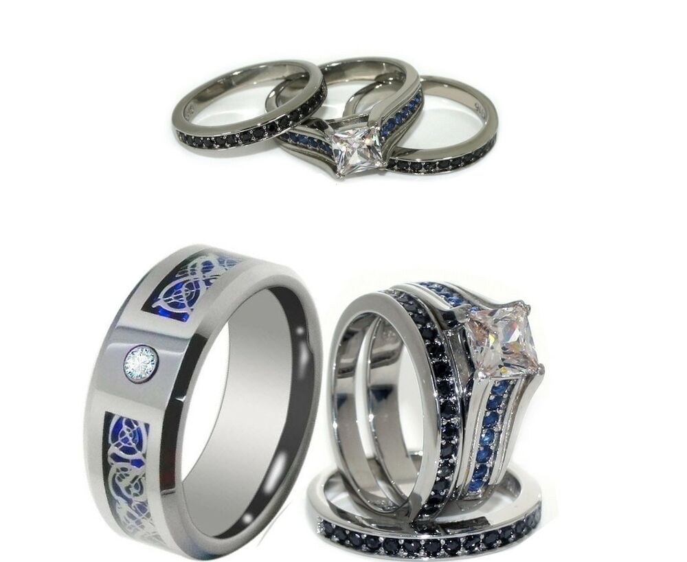 his 8mm tungsten and her stainless steel blue cz engagement and wedding ring set ebay. Black Bedroom Furniture Sets. Home Design Ideas