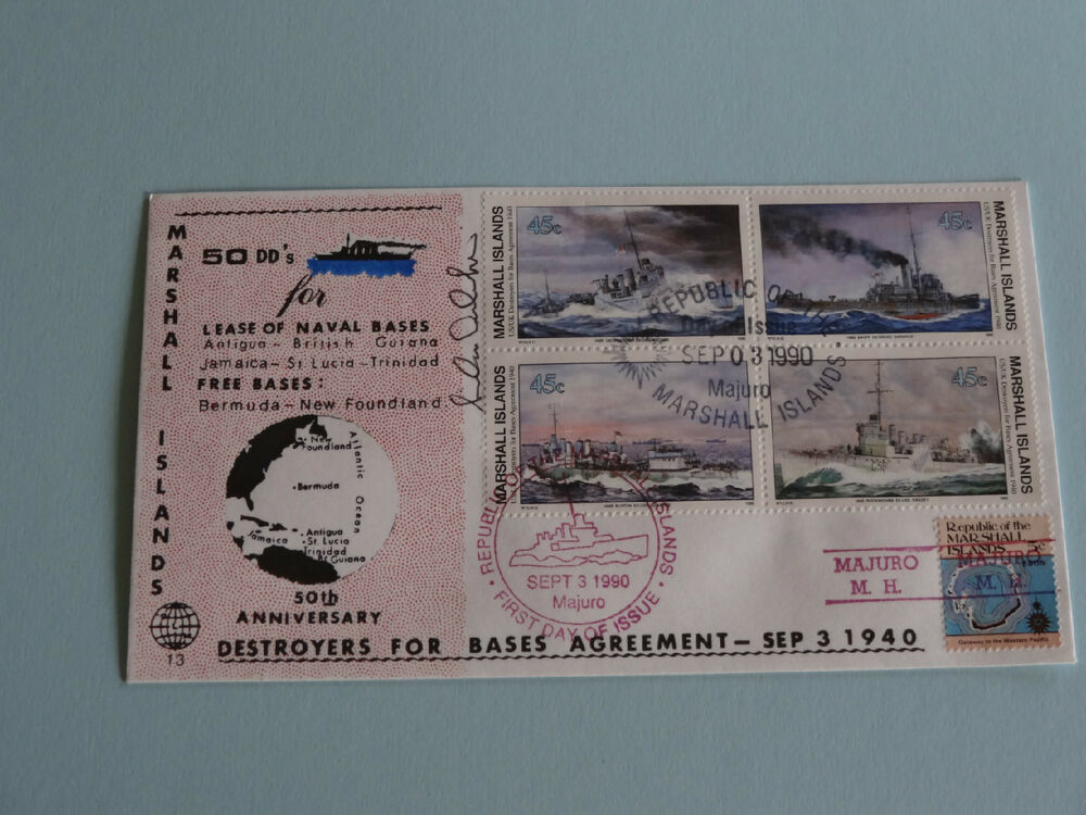 Wwii Fdc 13 Destroyers Bases Agmt Mh Red Precancel 50th