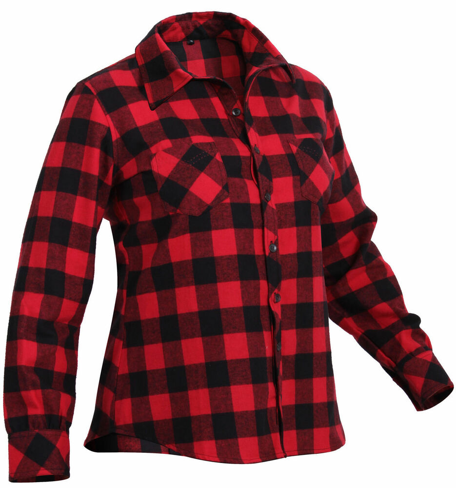 womens red plaid flannel 100 cotton shirt rothco 55739 ebay. Black Bedroom Furniture Sets. Home Design Ideas