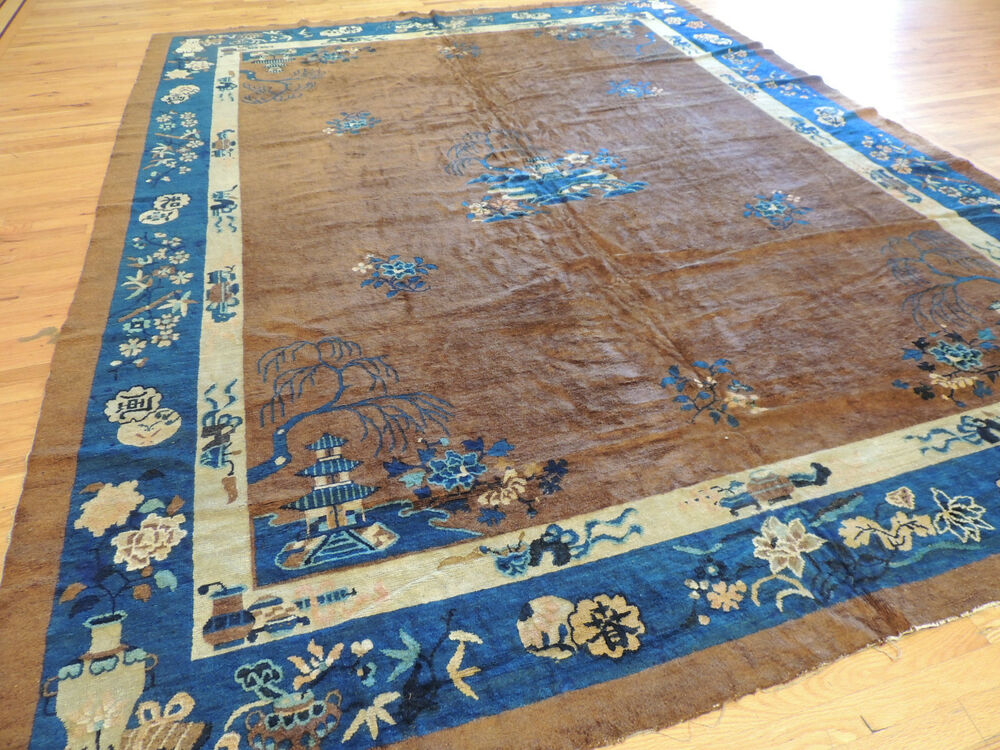 Lovely Antique Brown Blue Art Deco Chinese Oriental Area