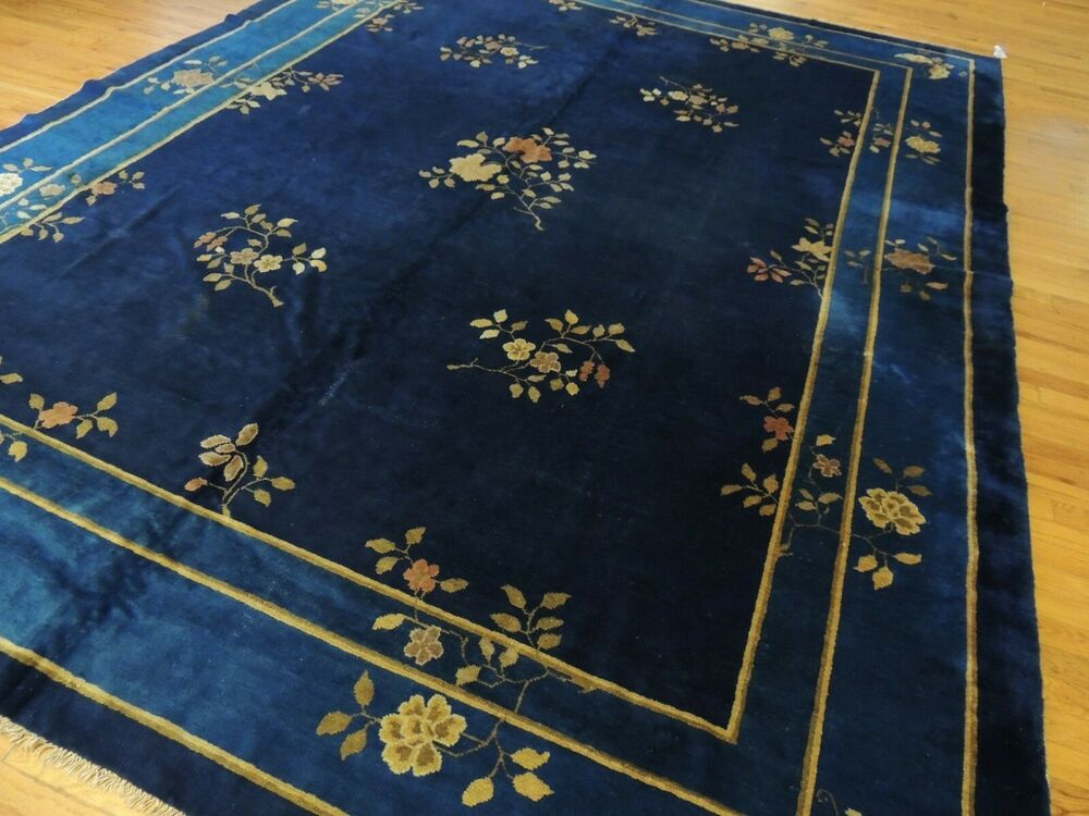 Antique Blue Art Deco Chinese Oriental Area Rug 9x12 Ebay