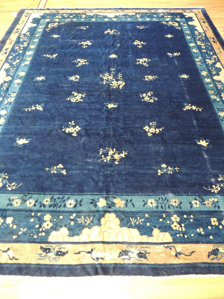 Gorgeous Antique Blue Art Deco Chinese Oriental Area Rug