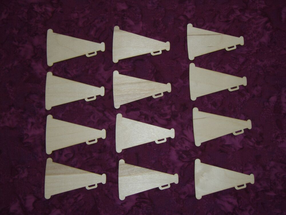 Megaphone shape cheerleader unfinished wood cutout for Wooden craft supplies online