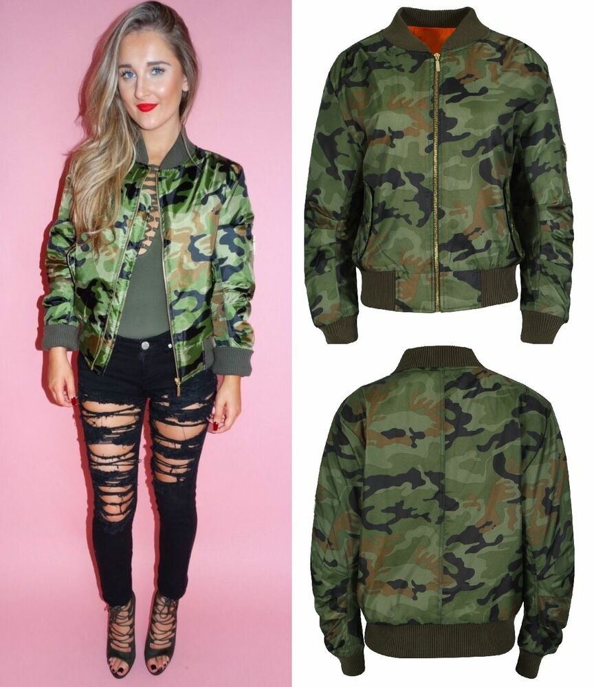 Women Camouflage Print Bomber Jacket Button Military ...  |Camo Jackets For Women