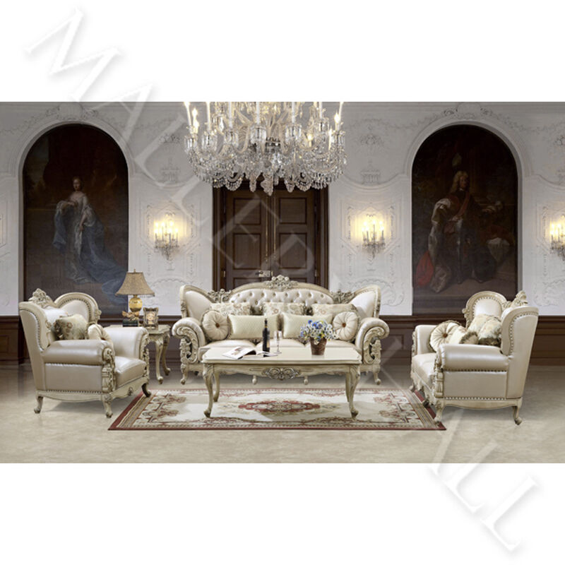 Paris Transitional Tufted White Leather Sectional Sofa: French Provincial Carved White Tufted Leather Upholstered
