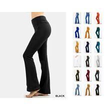 COMFY COTTON SPANDEX YOGA FLARE PANTS WORKOUT GYM FOLDOVER LOUNGE REG PLUS S-3X