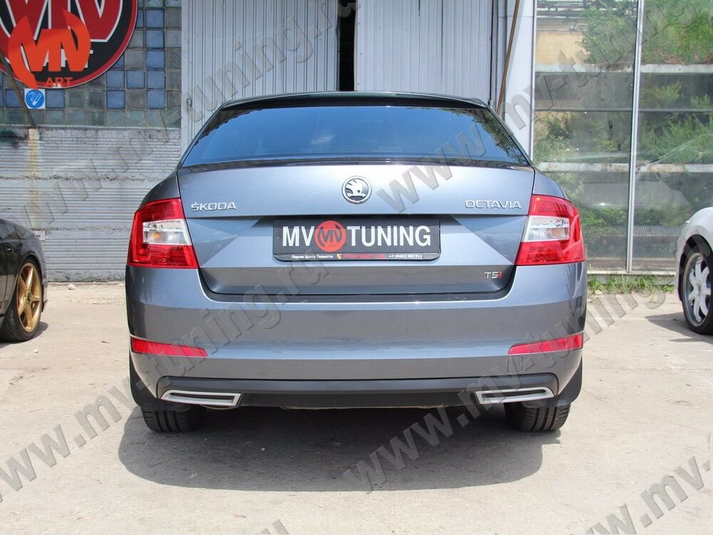 mv tuning covers imitating exhaust for skoda octavia a7. Black Bedroom Furniture Sets. Home Design Ideas