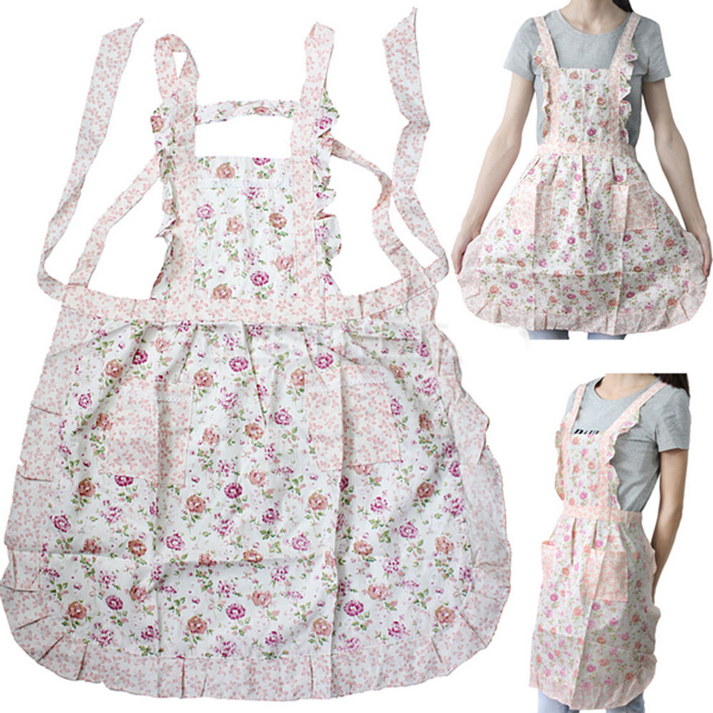 Home Kitchen Cooking Bib Flower Style Pocket Lace Apron Dress 8 Styles Ebay