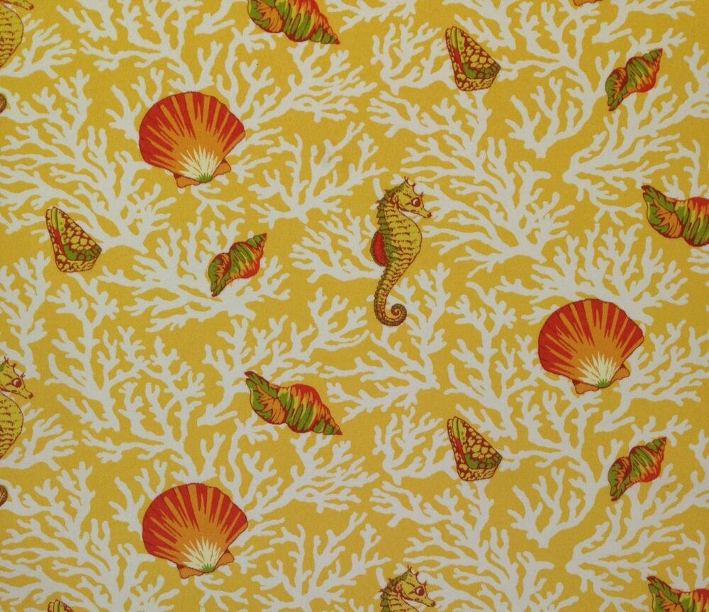 Mill creek kittery sunflower yellow seahorse seashell for Outdoor fabric by the yard