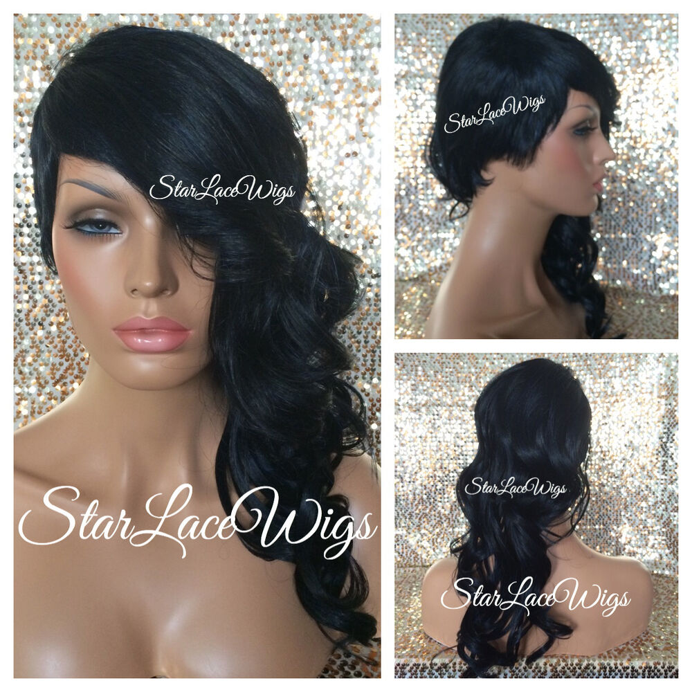 Layered Full Wig Bangs Shaved Side Wavy Curl 1b Off Black