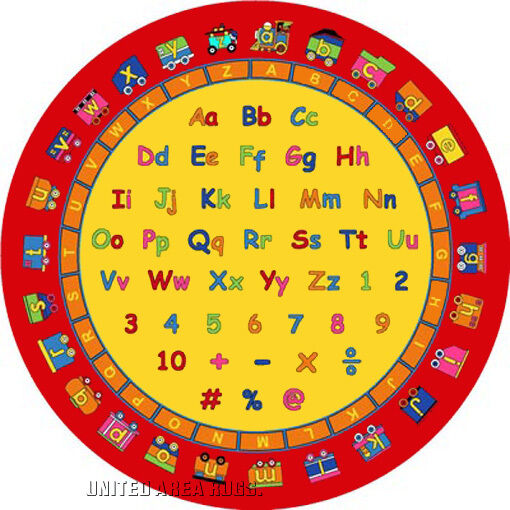 8x8 Round Rug Educational Rug ABC Numbers & Letters Fun