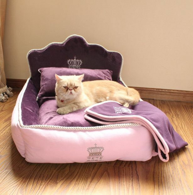 Princess Luxurious Pet Dog Cat Sofa Bed House Kitty Puppy Kennel Pillow Blanket Ebay